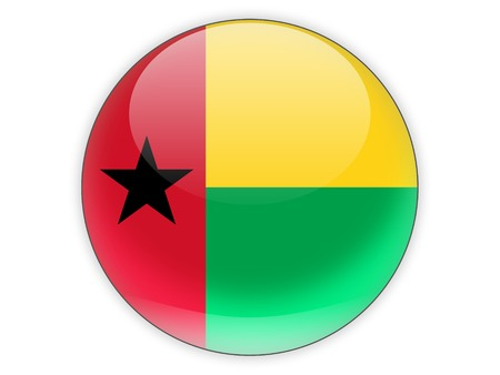 guinea bissau: Round icon with flag of guinea bissau isolated on white