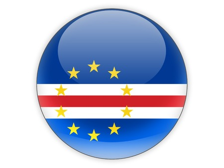 cape verde: Round icon with flag of cape verde isolated on white Stock Photo