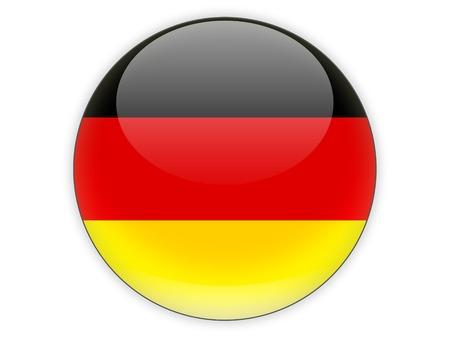 bandera blanca: Icono redondo con la bandera de alemania aislados en blanco