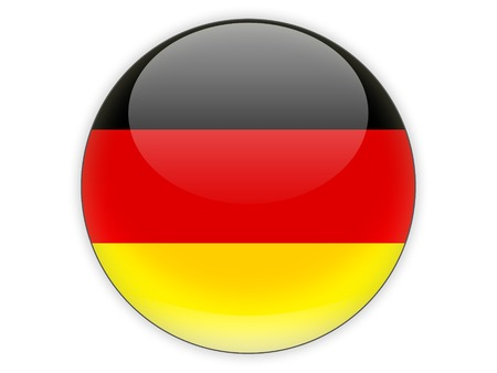 button: Round icon with flag of germany isolated on white