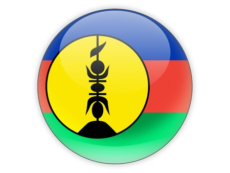 new caledonia: Round icon with flag of new caledonia isolated on white
