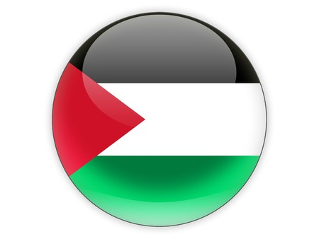 palestinian: Round icon with flag of palestinian territory isolated on white
