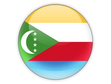comoros: Round icon with flag of comoros isolated on white