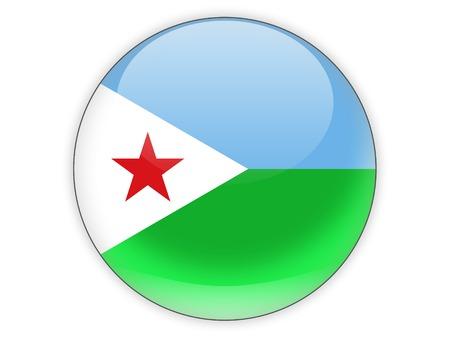 djibouti: Round icon with flag of djibouti isolated on white Stock Photo