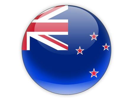 bandera de nueva zelanda: Icono redondo con la bandera de Nueva Zelanda aislado en blanco