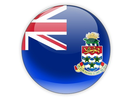 cayman islands: Round icon with flag of cayman islands isolated on white