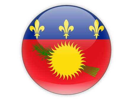 guadeloupe: Round icon with flag of guadeloupe isolated on white Stock Photo