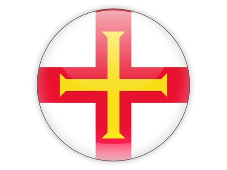 guernsey: Round icon with flag of guernsey isolated on white Stock Photo