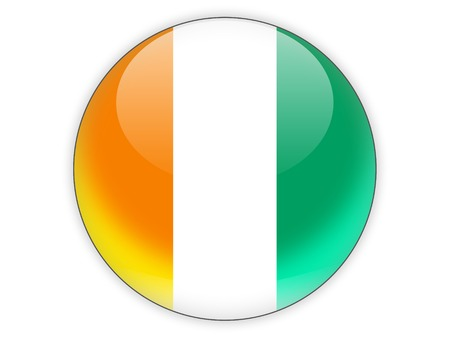 cote ivoire: Round icon with flag of cote d Ivoire isolated on white Stock Photo