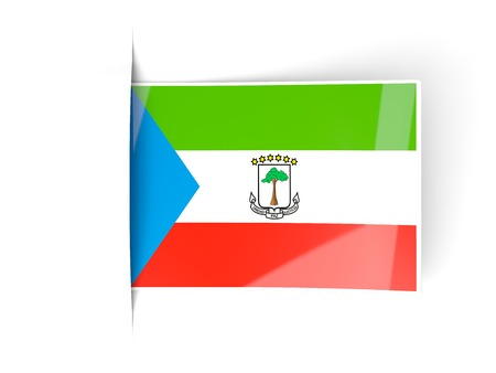 equatorial guinea: Square label with flag of equatorial guinea isolated on white