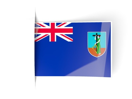 montserrat: Square label with flag of montserrat isolated on white
