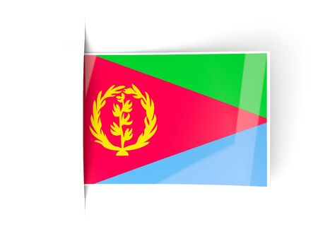 eritrea: Square label with flag of eritrea isolated on white