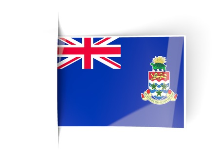 cayman islands: Square label with flag of cayman islands isolated on white