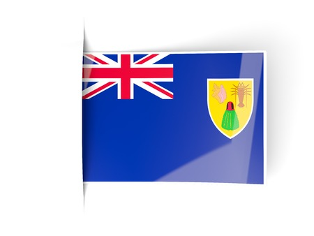 the turks: Square label with flag of turks and caicos islands isolated on white Stock Photo
