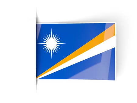 marshall: Square label with flag of marshall islands isolated on white