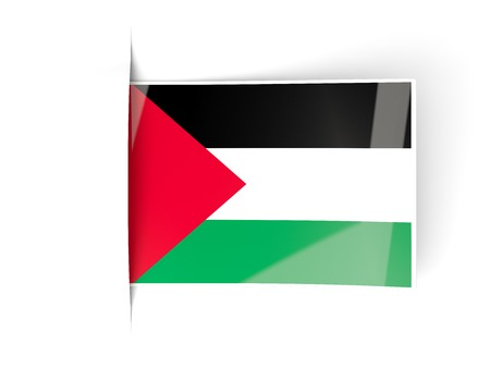 palestinian: Square label with flag of palestinian territory isolated on white