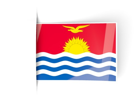 kiribati: Square label with flag of kiribati isolated on white Stock Photo