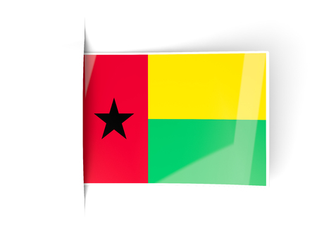 guinea bissau: Square label with flag of guinea bissau isolated on white