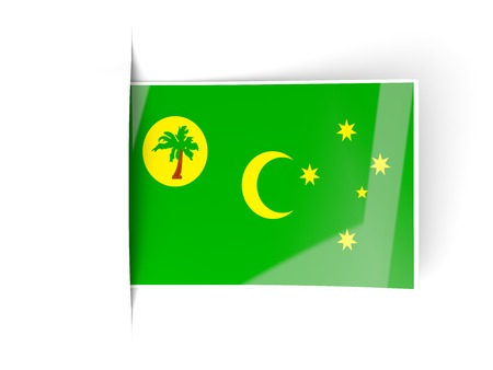 cocos: Square label with flag of cocos islands isolated on white