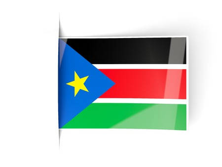 south sudan: Square label with flag of south sudan isolated on white Stock Photo