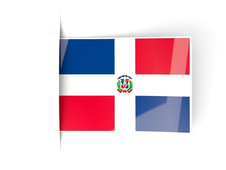dominican republic: Square label with flag of dominican republic isolated on white