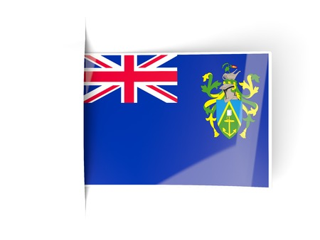 pitcairn: Square label with flag of pitcairn islands isolated on white Stock Photo