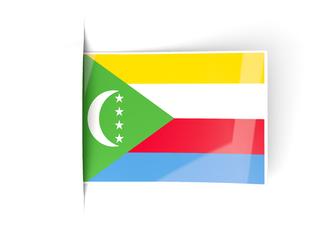 comoros: Square label with flag of comoros isolated on white Stock Photo