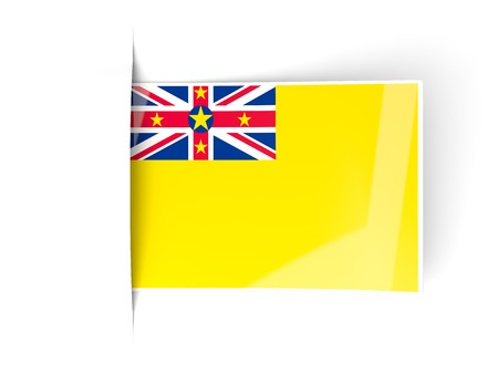 niue: Square label with flag of niue isolated on white