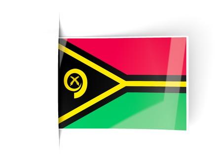 vanuatu: Square label with flag of vanuatu isolated on white
