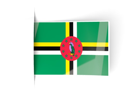dominica: Square label with flag of dominica isolated on white