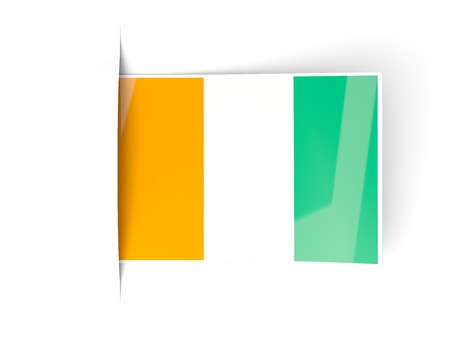 cote d ivoire: Square label with flag of cote d Ivoire isolated on white