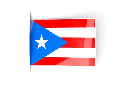 bandera de puerto rico: Square label with flag of puerto rico isolated on white