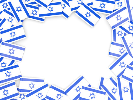 Frame with flag of israel isolated on white