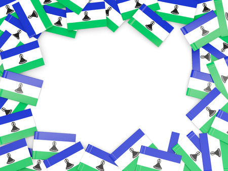LESOTHO: Frame with flag of lesotho isolated on white