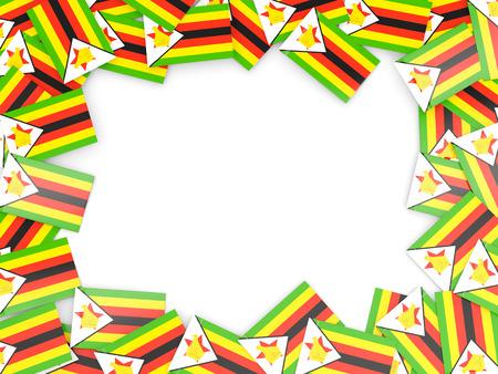 Frame with flag of zimbabwe isolated on white Stock Photo