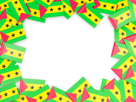 tome: Frame with flag of sao tome and principe isolated on white