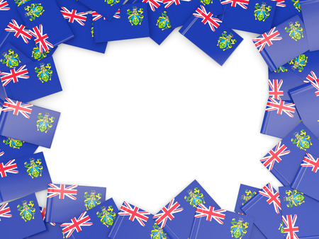 pitcairn: Frame with flag of pitcairn islands isolated on white