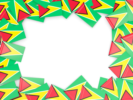 guyana: Frame with flag of guyana isolated on white Stock Photo