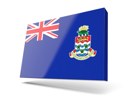 cayman islands: Square icon with flag of cayman islands isolated on white Stock Photo