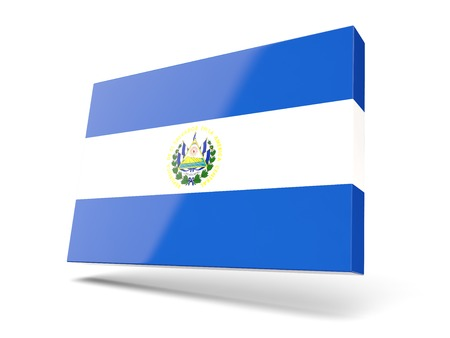 el salvador: Square icon with flag of el salvador isolated on white Stock Photo