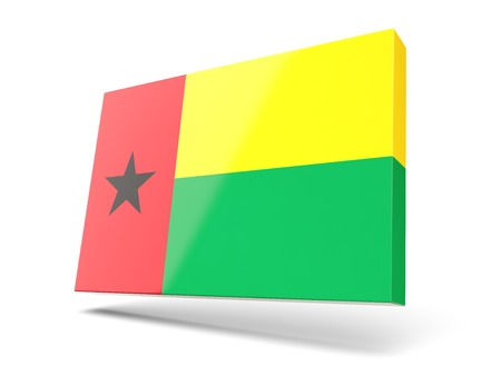 guinea bissau: Square icon with flag of guinea bissau isolated on white Stock Photo