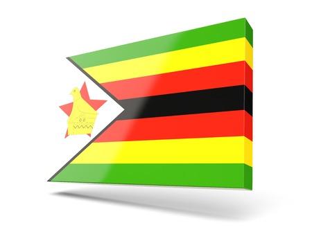 zimbabue: Cuadrado del icono con la bandera de Zimbabwe aislado en blanco
