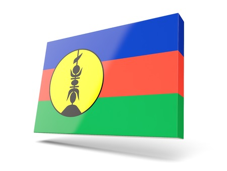 new caledonia: Square icon with flag of new caledonia isolated on white Stock Photo