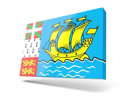 pierre: Square icon with flag of saint pierre and miquelon isolated on white