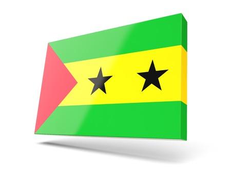 principe: Cuadrado del icono con la bandera de Santo Tomé y Príncipe aislado en blanco