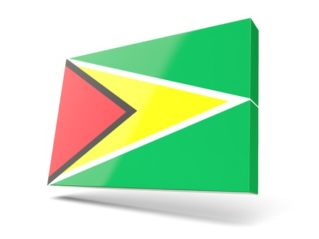 guyana: Square icon with flag of guyana isolated on white Stock Photo