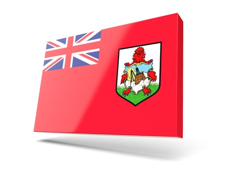 bermuda: Square icon with flag of bermuda isolated on white Stock Photo
