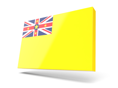 niue: Square icon with flag of niue isolated on white