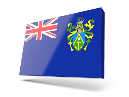 pitcairn: Square icon with flag of pitcairn islands isolated on white Stock Photo