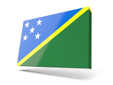 solomon: Square icon with flag of solomon islands isolated on white Stock Photo